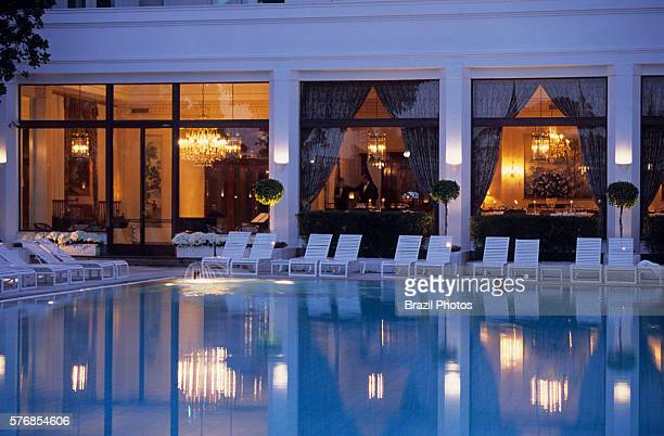 Swimming pool and restaurant of The Belmond Copacabana Palace a luxury hotel located on Copacabana Beach in Rio de Janeiro Brazil the famous hotel is...