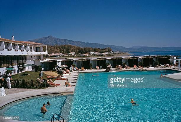 A swimming pool at a beach resort in Marbella Spain April 1963