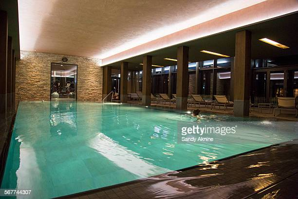 swimming pool at a health club, crans-montana, swiss alps, switzerland - leisure facilities stock pictures, royalty-free photos & images