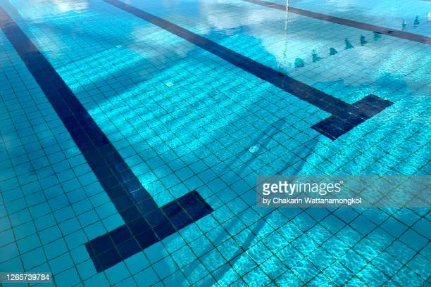 swimming pool background - close up of tile floor under water with shadow of  swimming pool ladder and flags. - sport venue ストックフォトと画像