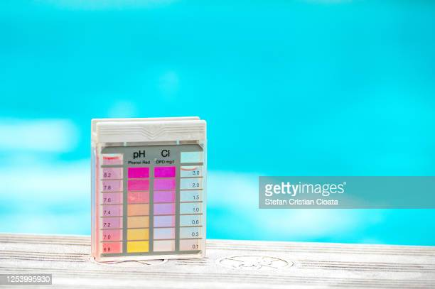 swimming pool chemical level testing kit - ph value stock pictures, royalty-free photos & images