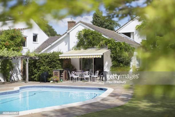 Swimming pool in backyard of house