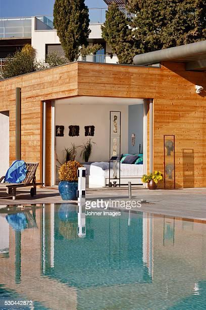 Swimming pool near modern house
