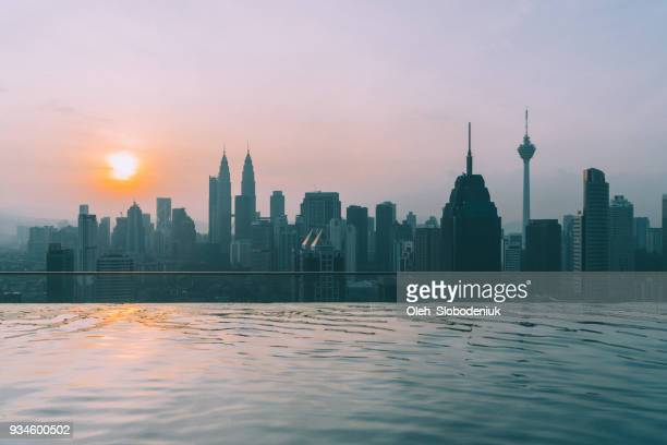 Swimming pool on roof top with view of Kuala Lumpur