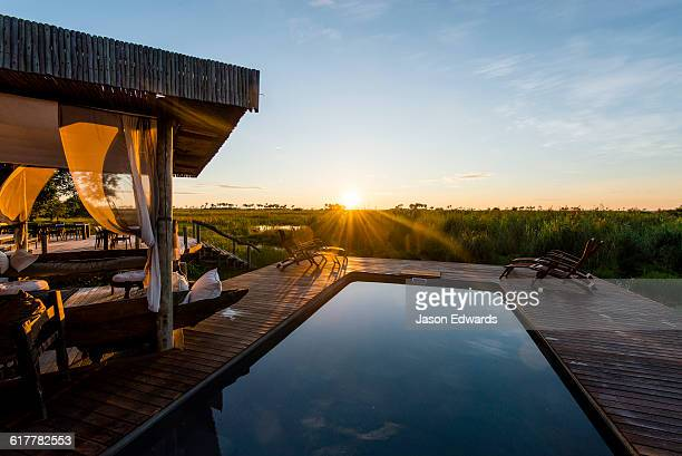 A swimming pool overlooking a wetland in a luxury safari camp at dawn.