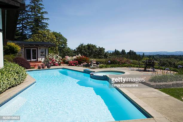 Swimming pool overlooking rural landscape