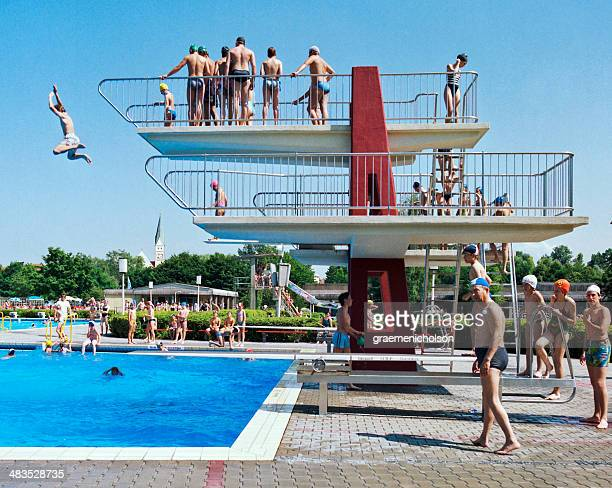 swimming pool - diving platform stock pictures, royalty-free photos & images