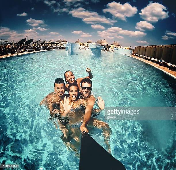 Swimming pool selfie.