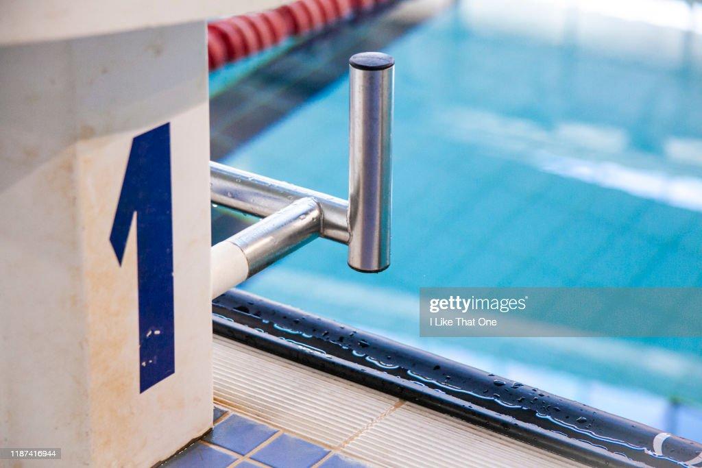Swimming Pool Starting Block : Stock Photo