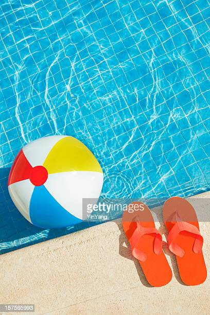 Swimming Pool Summer Fun with Floating Beach Ball, Flip Flops