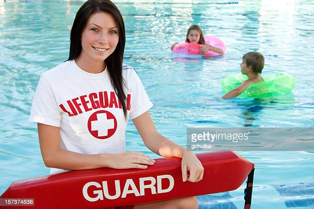 swimming pool supervision - lifeguard stock pictures, royalty-free photos & images