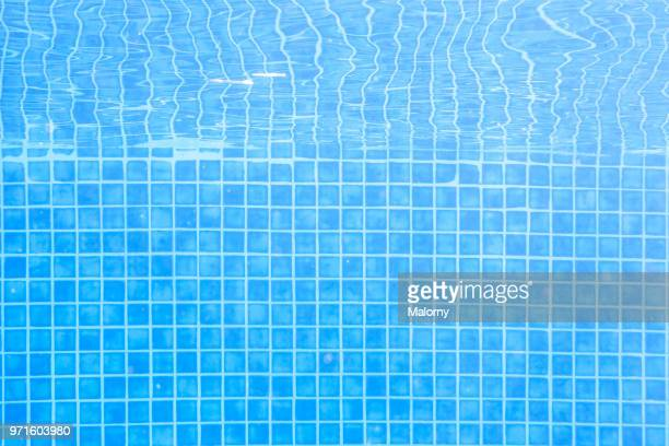 Swimming pool. Underwater view, blue tiles and blue water. Full frame shot