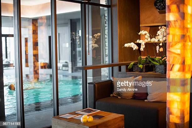 Swimming pool viewed through from window at spa, Crans-Montana, Swiss Alps, Switzerland