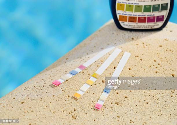 swimming pool water testing strips - ph value stock pictures, royalty-free photos & images