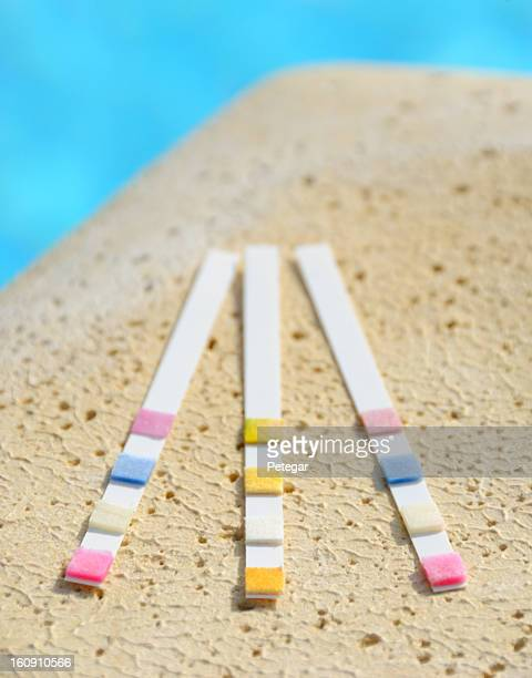 swimming pool water testing strips - ph value stock photos and pictures