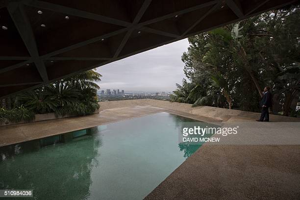 A swimming pool with a view is seen during a tour of the John Lautnerdesigned home being donated to the Los Angeles County Museum of Art by fashion...