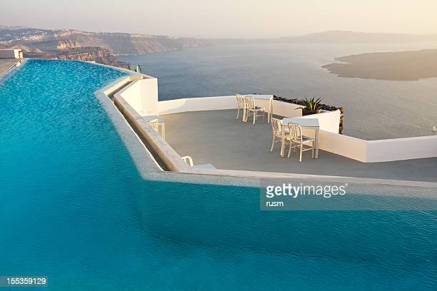 Swimming pool with sea view, Santorini, Greece