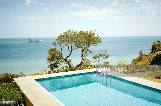 Swimming pool with view of Port Phillip Bay, Melbourne, Australia