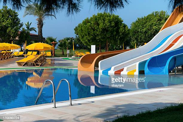Swimming pool with waterslides