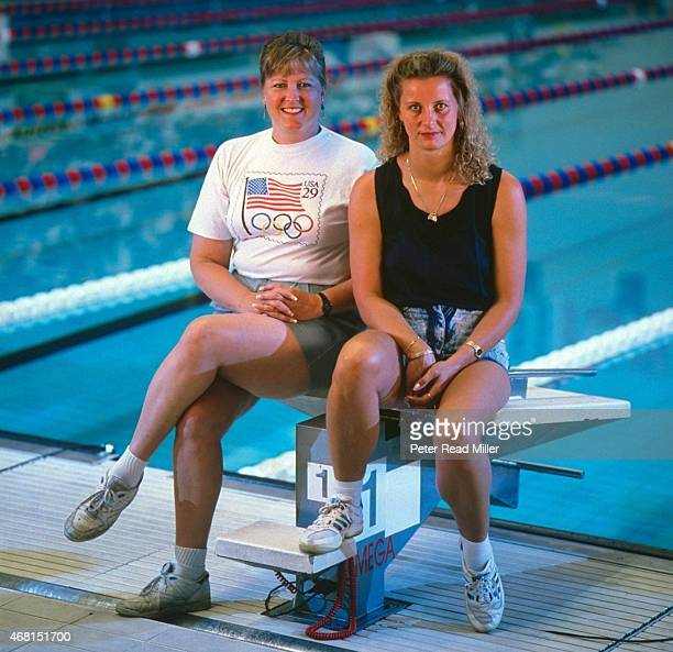Portrait of former Olympic swimmers USA Shirley Babashoff and Germany Kornelia Ender posing on diving block at IUPUI Natatorium Indianapolis IN...