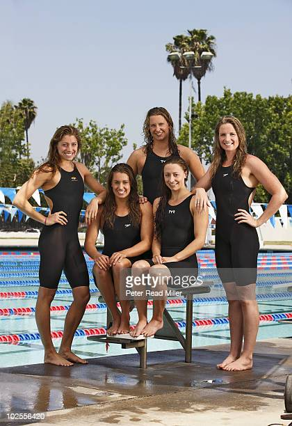 Portrait of Fullerton Aquatics Sports Team Caroline Burkle Katie Hoff Margaret Hoelzer Ariana Kukors and Kara Lynn Joyce during photo shoot at Janet...