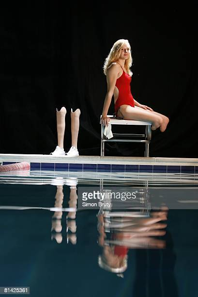 Swimming Portrait of USA paralympian Jessica Long with artificial legs Handicapped Baltimore MD