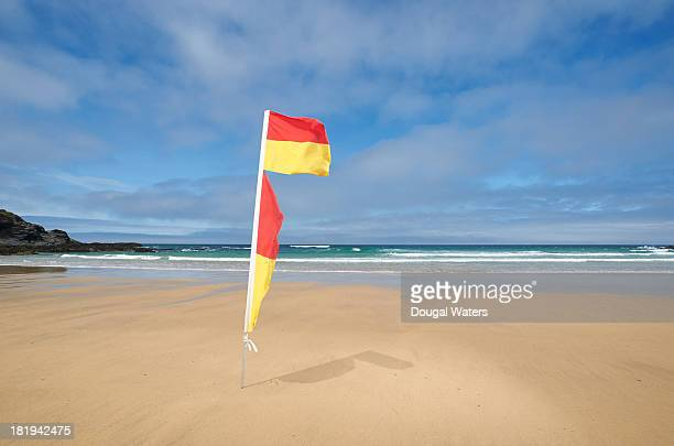 Swimming safety flag at beach.