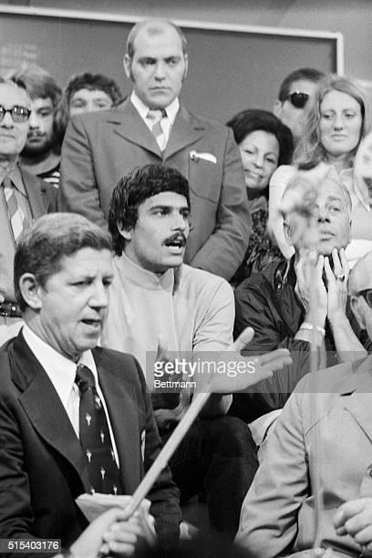 Swimming sensation Mark Spitz holds tense uncomfortable news conference 9/5 while several Israeli athletes were being held hostage by Arab guerrillas...