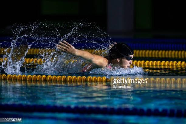swimming session - バタフライ ストックフォトと画像