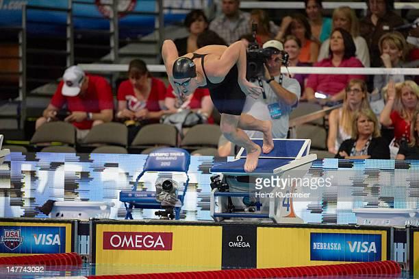 US Olympic Trials Missy Franklin in action dive during Women's Heats at CenturyLink Center Omaha NE CREDIT Heinz Kluetmeier
