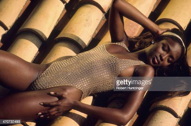 Swimsuit 1992 Issue Model Naomi Campbell poses for 1992 Sports Illustrated Swimsuit issue on November 1 1991 on Cadaques Island in Girona Spain...