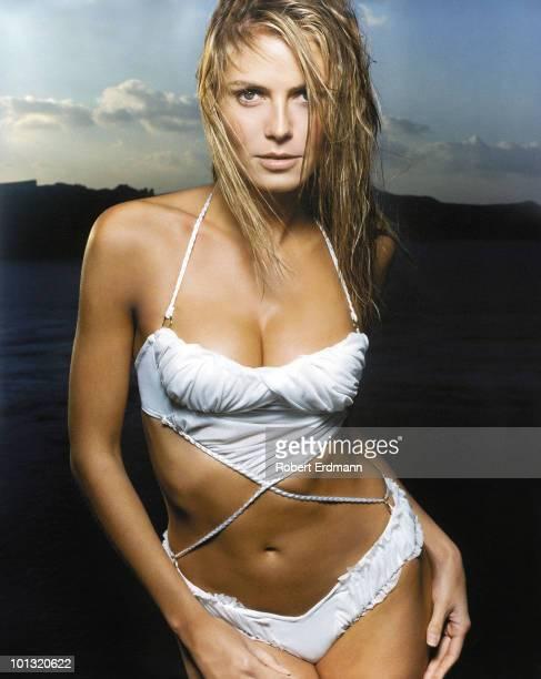 Swimsuit 2001 Issue Closeup portrait of Heidi Klum wearing bikini by Orazio Couture Mykonos and Santorini Greece 2/1/200 SetNumber X61064