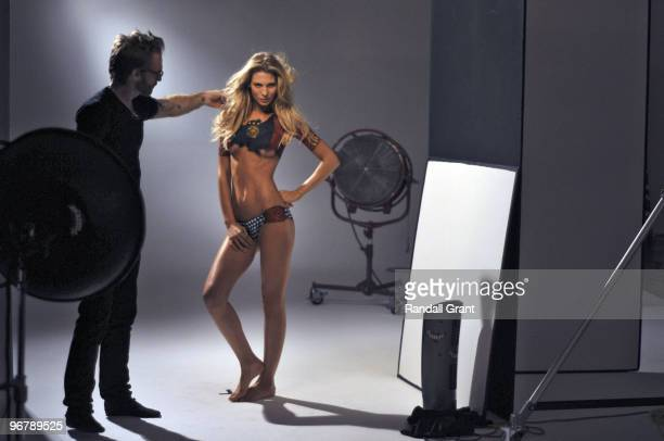 Swimsuit 2010 Issue Portrait of Sarah Brandner girlfriend of Germany soccer player Bastian Schweinsteiger Behind the scenes shoot Body painting by...