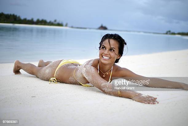 Swimsuit 2010 Issue View of Christine Teigen on location during photo shoot Behind the Scenes The Maldives 8/5/2009 Set Number D130643 TK2 R1 F322...