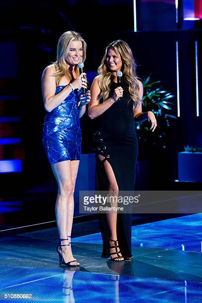 2016 Swimsuit Cover Reveal View of TNT host actress and former SI swimsuit model Rebecca Romijn and Chrissy Teigen on stage during launch week...
