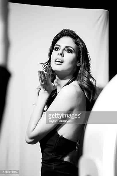 2016 Swimsuit Launch Party Closeup portrait of Bo Krsmanovic in dressing room before launch week event at Brookfield Place Behind the Scenes New York...