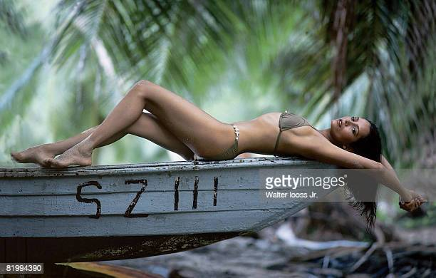 Swimsuit Issue 1979 Model Barbara Carrera poses for the 1979 Sports Illustrated Swimsuit issue on November 1 1978 on Mahe Seychelles PUBLISHED IMAGE...