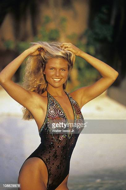 Swimsuit Issue 1979 Model Christie Brinkley wearing one piece by Giorgio Sant' Angelo poses for the cover of the 1979 Sports Illustrated Swimsuit...