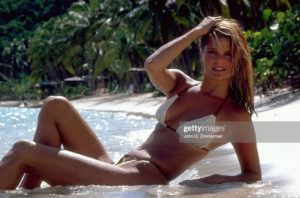 Model Christie Brinkley poses for the 1980 Sports Illustrated Swimsuit issue on November 23, 1979 in the British Virgin Islands.