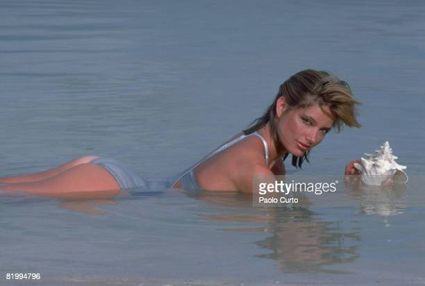 Swimsuit Issue 1984: Model Kelly Emberg poses for the 1984 Sports Illustrated Swimsuit issue on December 16, 1983 on Bonaire. PUBLISHED IMAGE. CREDIT...