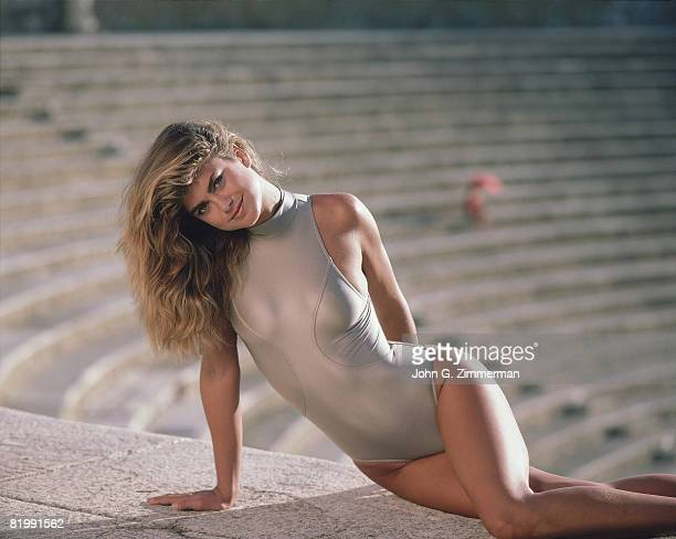 Swimsuit Issue 1987 Model Kathy Ireland poses for the 1987 Sports Illustrated swimsuit issue on September 24 1986 in Santo Domingo Dominican Republic...