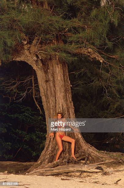 Swimsuit Issue 1988: Model Cindy Crawford poses for the 1988 Sports Illustrated Swimsuit issue on February 2, 1988 in Phuket, Thailand. CREDIT MUST...