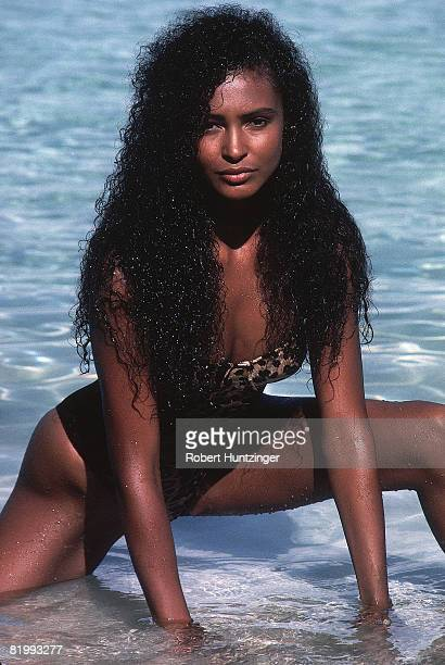 Swimsuit issue 1990: Model Akure Wall poses for the 1990 Sports Illustrated Swimsuit issue on January 19, 1990 in Saint Vincent and The Grenadines....