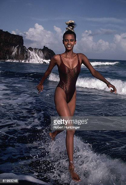Swimsuit issue 1990 Model Anna Getaneh poses for the 1990 Sports Illustrated Swimsuit issue on January 19 1990 on Argyle Beach in Saint Vincent and...