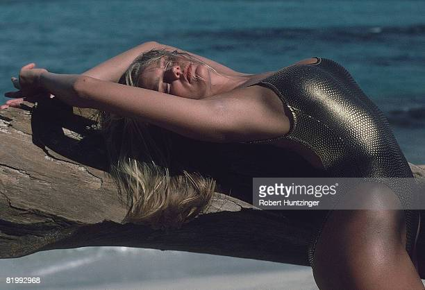 Swimsuit Issue 1990: Model Ashley Richardson poses for the 1990 Sports Illustrated Swimsuit issue on January 19, 1990 on Saint Vincent and the...