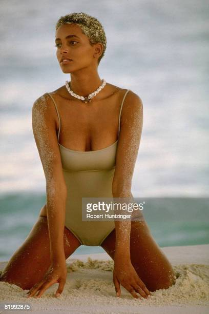 Swimsuit issue 1990: Model Louise Vyent poses for the 1990 Sports Illustrated Swimsuit issue on January 19, 1990 in Saint Vincent and The Grenadines....