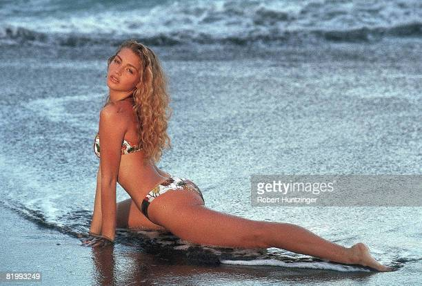 Swimsuit issue 1990: Model Michaela Bercu poses for the 1990 Sports Illustrated Swimsuit issue on January 19, 1990 in Saint Vincent and The...