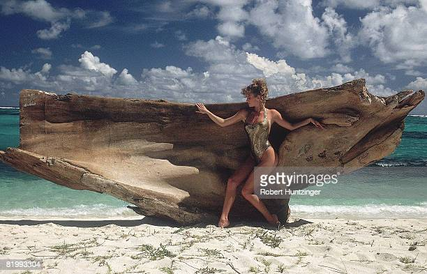 Swimsuit Issue 1990 Model Rachel Hunter is photographed for the 1990 Sports Illustrated Swimsuit issue on January 19 1990 on Argyle Beach in...