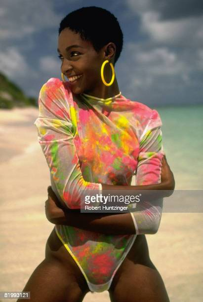 Swimsuit issue 1990 Model Roshumba Williams poses for the 1990 Sports Illustrated Swimsuit issue on January 19 1990 on Argyle Beach in Saint Vincent...