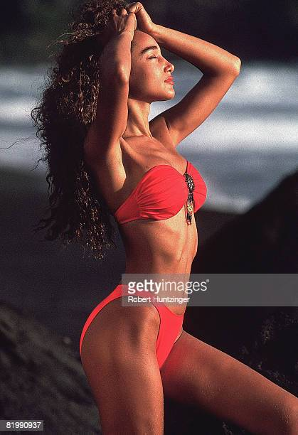 Swimsuit issue 1990: Model Sabrina Barnett poses for the 1990 Sports Illustrated Swimsuit issue on January 19, 1990 in Saint Vincent and The...